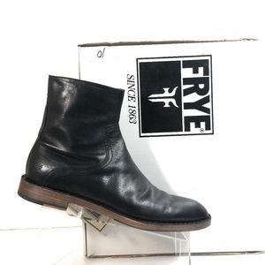 Frye Mark Inside Zip Men Black Leather Boots Sz 10